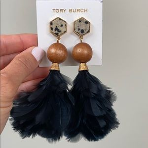 Tory Burch Feather Drop Earrings